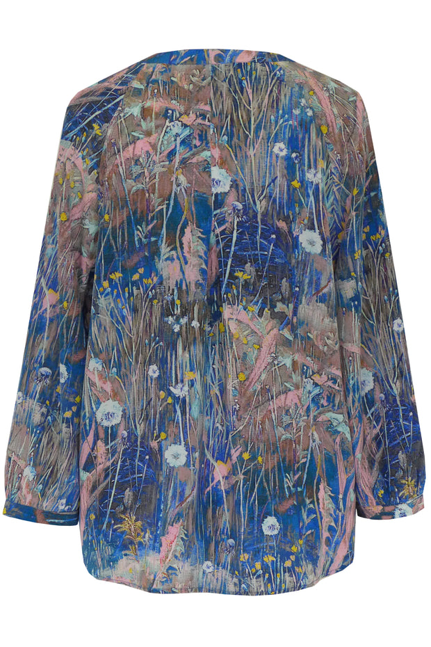 Luna Meadow Blue Pink Crepe de Chine Shirt