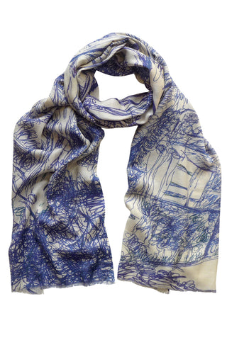 Along the Road Blue - (Cotton/Silk/Cashmere) Scarf