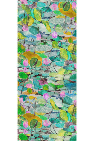 Abstract Lily Green Pink - (Linen/Cotton) Scarf