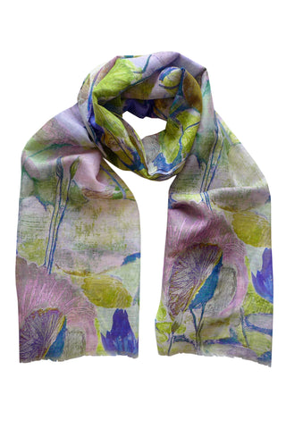 Abstract Lily Blue - (Linen/Cotton) Scarf