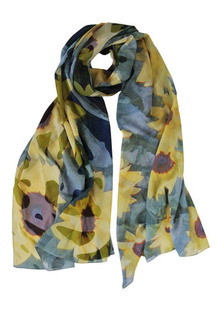 Sunflower - (100% Silk Georgette) Scarf