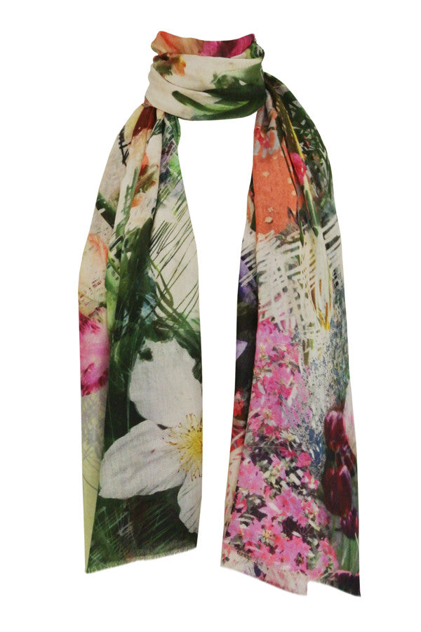 Tulip Scribble Pink - (Cotton/Silk/Cashmere) Scarf