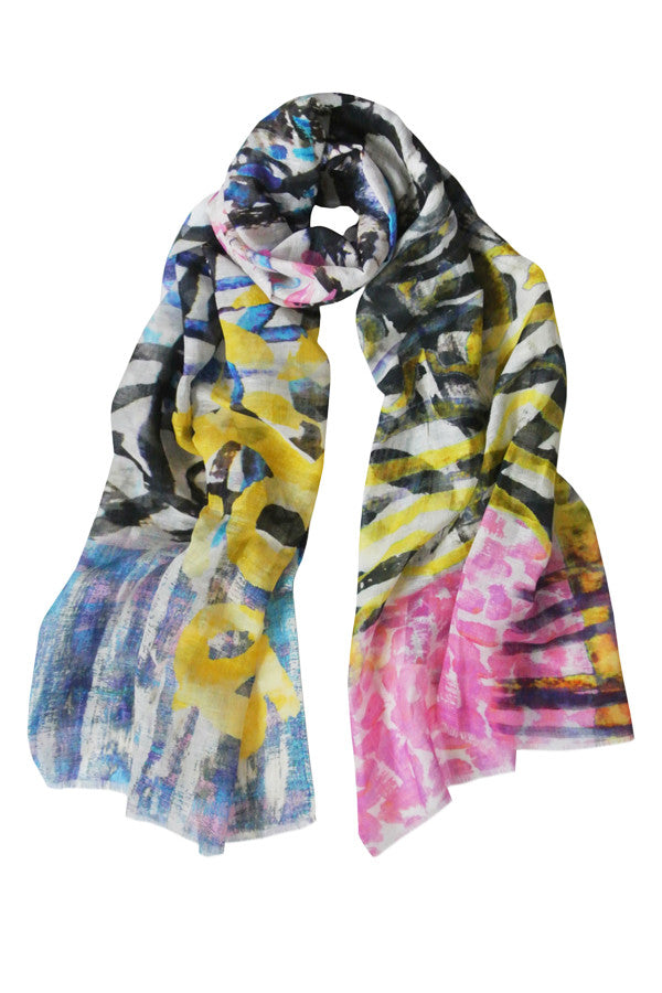 Pazuki | SS16 | Wave Abstract | Linen Cotton Scarf - 2