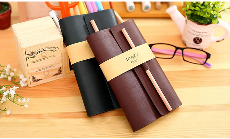 Deli Leather NOTEBOOK business Stationery 2 colors Office notebooks Diary Journal Sketchbook Refill Paper Notebook a diary gift