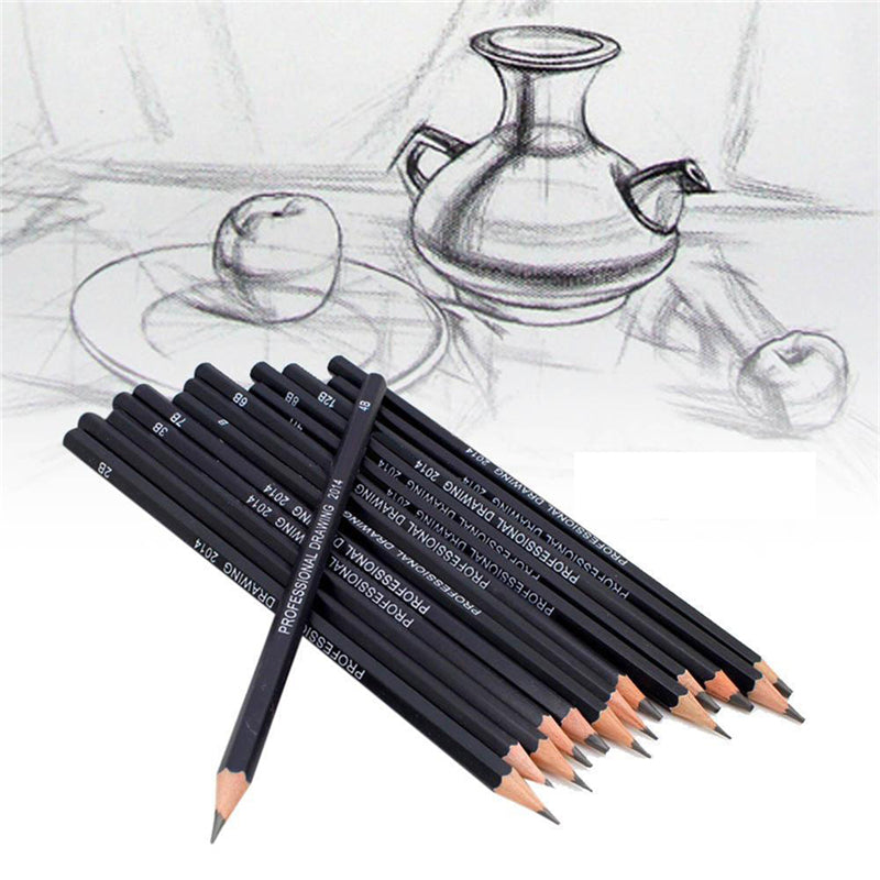 10/12/14pcs Professional Sketch and Drawing Writing Pencil Stationery Supply 1B 2B 3B 4B 5B 6B 7B 8B 10B 12B 2H 4H 6H HB Pencil