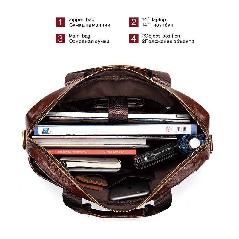 WESTAL men's briefcase bag men's genuine leather laptop bag business tote for document office portable laptop shoulder bag  8523