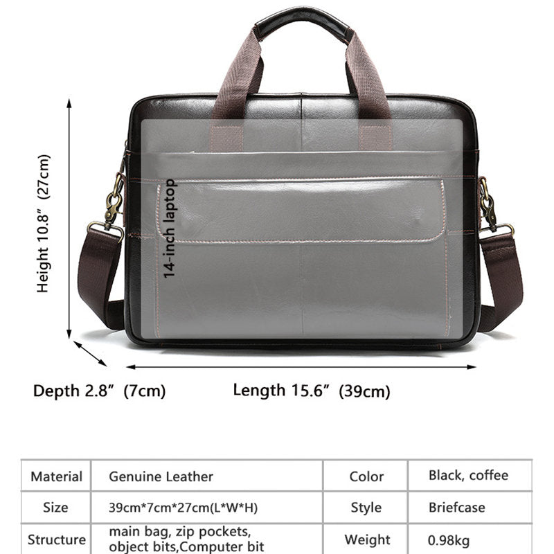 Westal Men's Briefcase Bag Men's Genuine Leather Laptop Bag Business Tote For Document Office Portable Laptop Shoulder Bag Hot