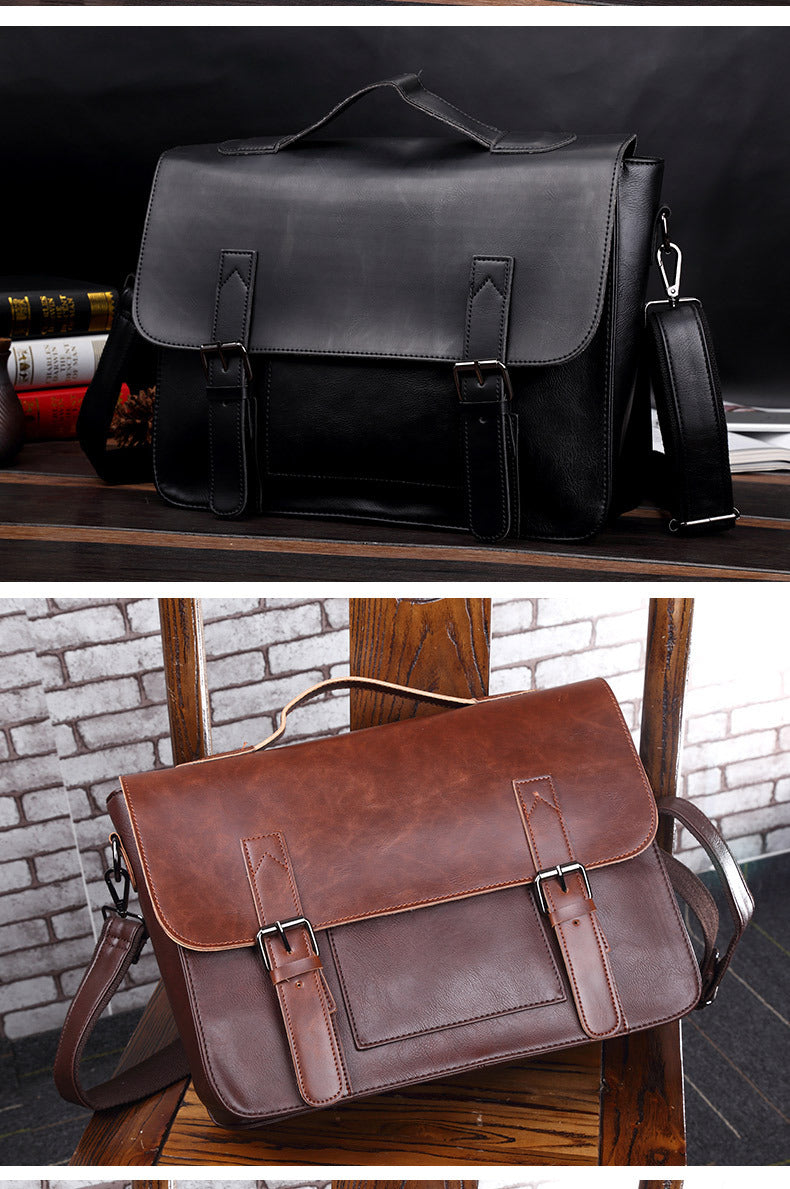 Crazy Horse Artificial Leather Business Handbag Laptop Briefcases for Men Leather Casual Men Bag Messenger Shoulder Bags Man
