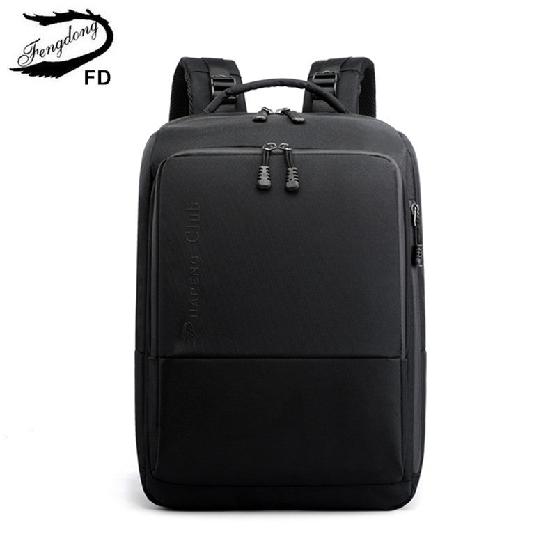 FengDong college student boys school backpack minimalist black waterproof business backpack men laptop backpack 15.6 male bags