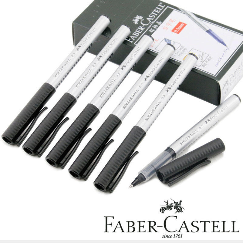 Faber Castell 10pcs/Box Gel Pens 0.5mm Blue Ink or Black Ink for Students School Stationary