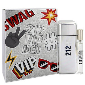212 Vip by Carolina Herrera, Gift Set - 3.4 oz Eau De Toilette Spray + .34 oz Mini EDT Spray (Men)  -- - FragranceB&B