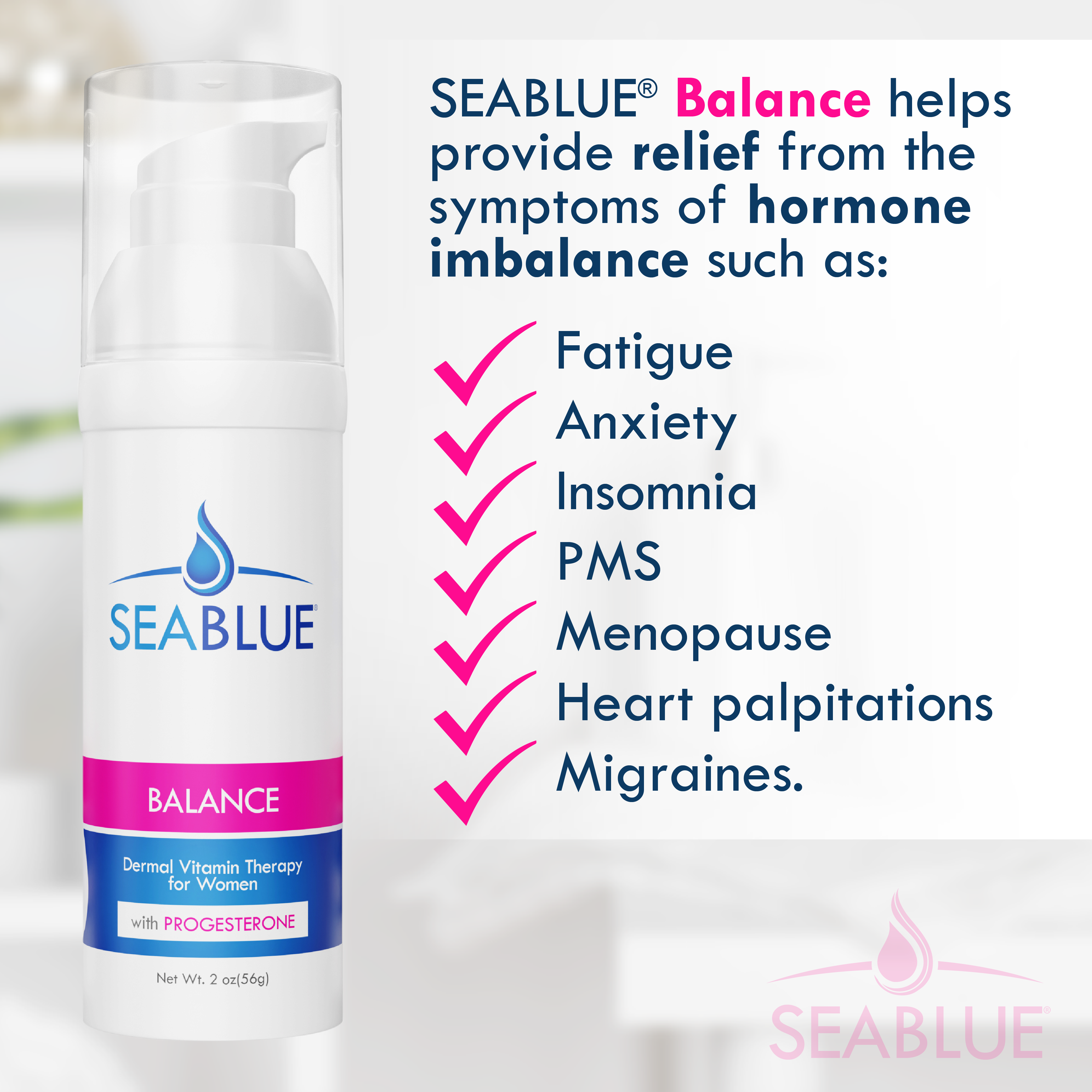 SEABLUE® Balance Dermal Vitamin Cream with Progesterone for Women