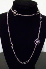Italian Sterling Silver Flower Rhodium Necklace