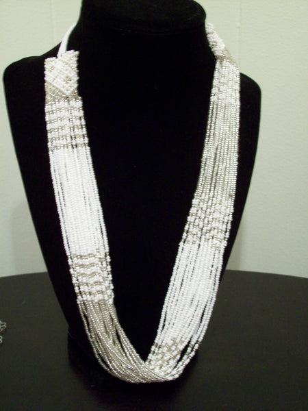 African white & silver necklace