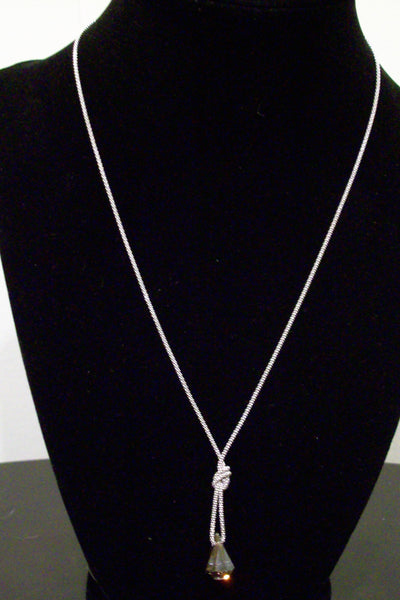 Italian Sterling Silver Smokey Swarovski Necklace
