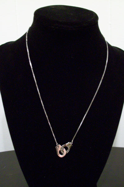 Sterling Silver CZ Handcuff Necklace
