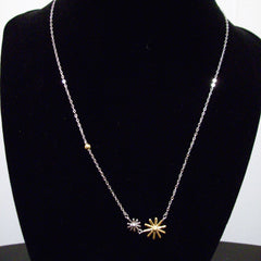 Sterling Silver Snowflake Two Tone Rhodium Necklace