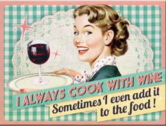 Cook with Wine Retro Magnet