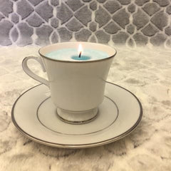 White & Silver Teacup Candle