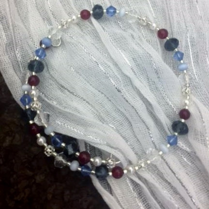 Wrap Bracelet - Red Jade, Silver, Blue & Clear Glass