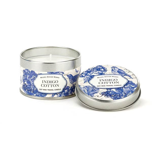 Indigo Cotton Travel Candle- Michel Design Works