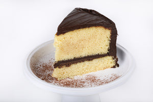 Yellow Cake with Chocolate Frosting - Lucki's Gourmet