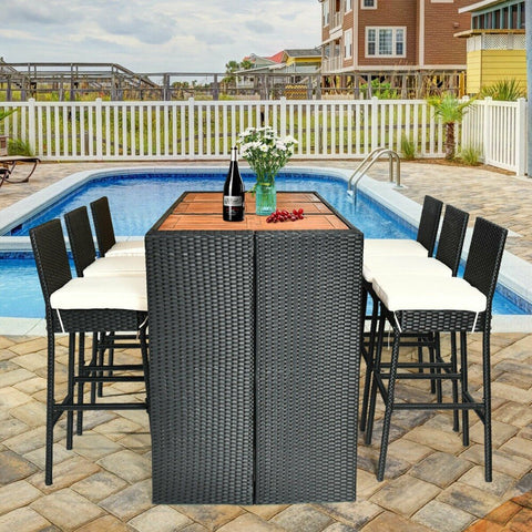 7 Pcs Patio Rattan Wicker Acacia Wood Table Top Outdoor Dining Furniture Set Reinforced Steel Frame 6 Bar Chairs