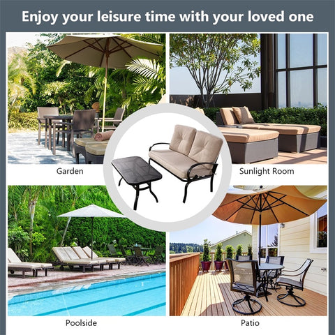 2 Pcs Patio Outdoor Cushioned Loveseat + Coffee Table