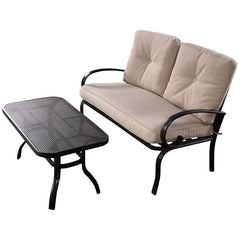 Image of 2 Pcs Patio Outdoor Cushioned Loveseat + Coffee Table