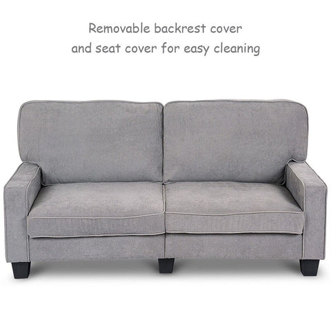 Upholstered Curved Armrest Fabric Sofa