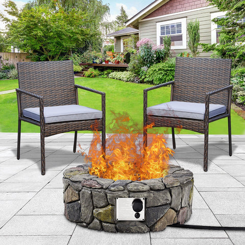 "28"" Propane Gas Fire Pit Outdoor Finish Lava Rocks Cover"