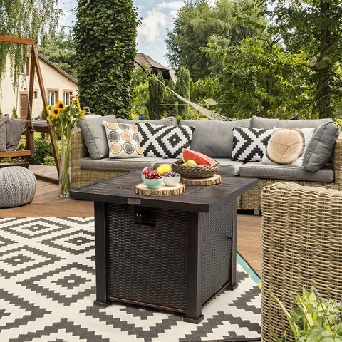 30 Inch Square Propane Gas Fire Pit Table