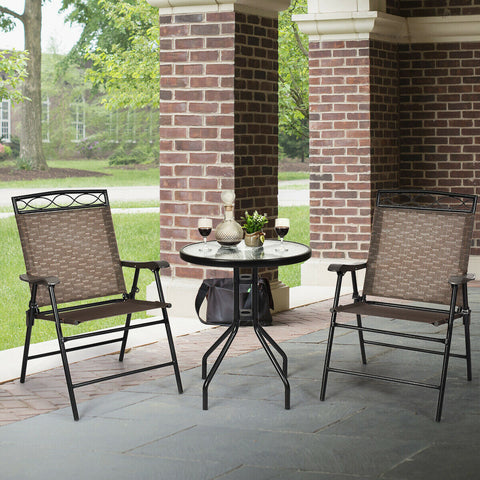 3 Pcs Patio Pub Bistro Dining Set