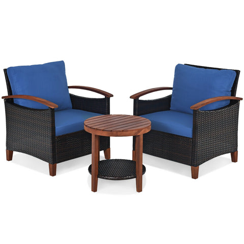 3 pcs Solid Wood Frame Patio Rattan Furniture Set