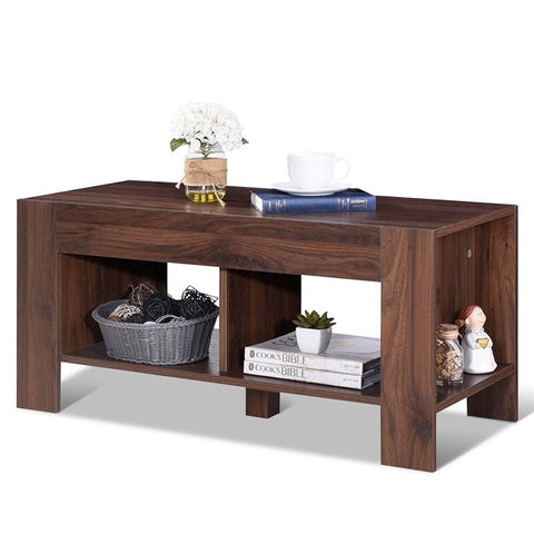 High Quality Simple Design 2-Tier Wood Coffee Table