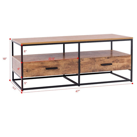 "47"" 2-Tier Cocktail 2 Drawer Coffee Table"