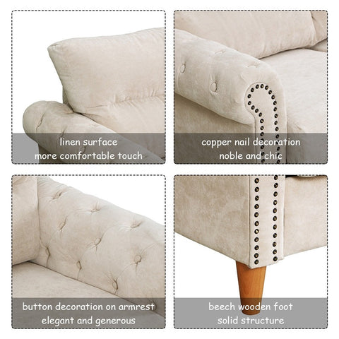 Modern Upholstered 2-Seater Nailhead Linen Fabric