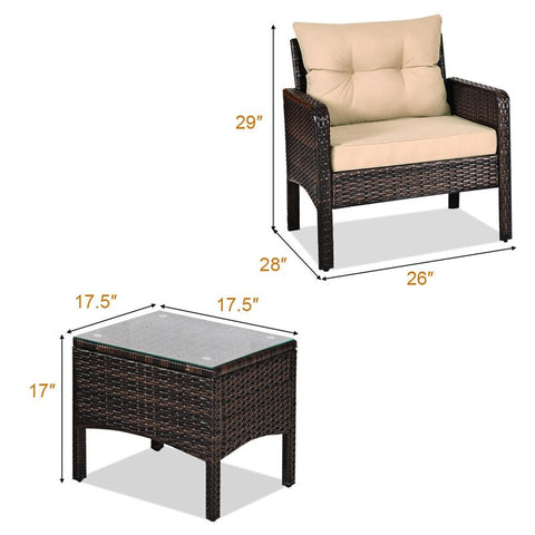3 Piece Outdoor Patio Rattan Conversation Set
