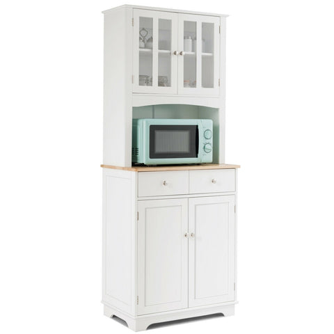 Buffet and Hutch Kitchen Storage Cabinet - White