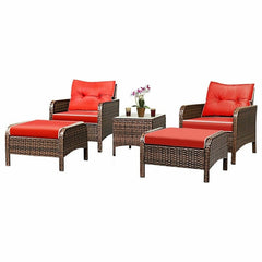Outdoor Garden 5pcs Patio Rattan Sofa Ottoman Set With Cushions