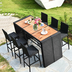 7 Pcs Patio Rattan Wicker Acacia Wood Table Top Outdoor Dining Furniture Set