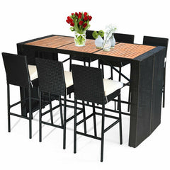 COSTWAY 7 Pcs Patio Rattan Wicker Acacia Wood Table Top Outdoor Dining Furniture Set Reinforced Steel Frame 6 Bar Chairs