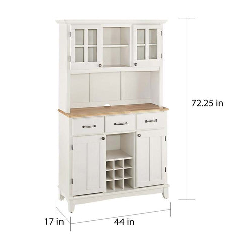White Buffet And Hutch Wood Top Kitchen Storage Cabinet