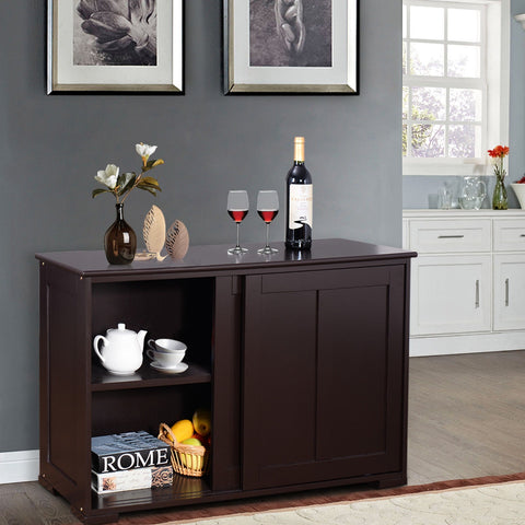Kitchen Storage Cabinet with Wood Sliding Door - Brown