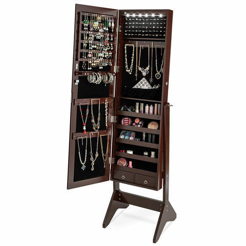 LEDs Lockable Jewelry Cabinet with Full-Length Mirror-Coffee