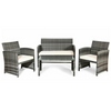 Image of Outdoor Patio 4 Pcs Patio Rattan Furniture Set Top Sofa With Glass Table