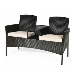 Image of Patio Rattan Conversation Set With Table
