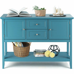 Image of Wooden Sideboard Buffet Console Table-Blue
