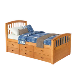 Twin Size Platform Sleeping Single Bed Frame Solid Wood Pine with 6 Storage Drawers