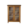 Image of Oak Finish Bathroom Floor Cabinet with 2 Glass Doors & Storage Shelves